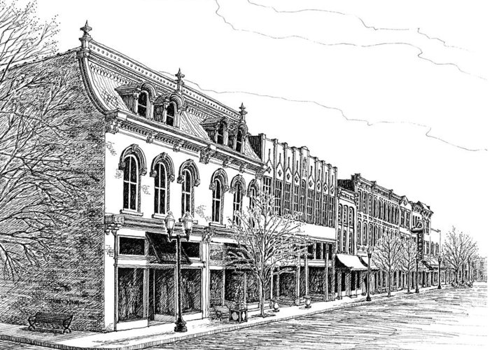 Main Street In Franklin Drawings Greeting Cards