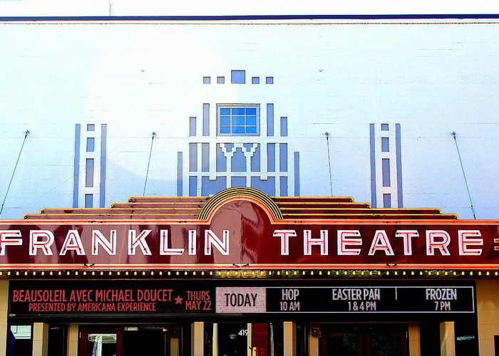 Franklin Theatre Greeting Card featuring the photograph Franklin Theatre by Anthony Jones