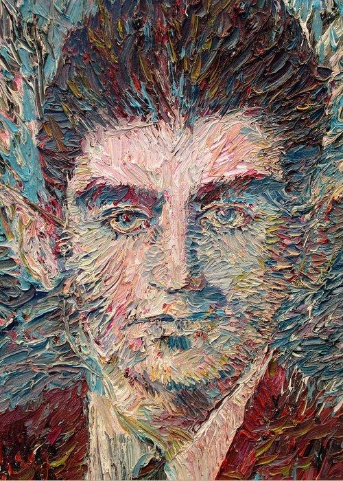 Franz Greeting Card featuring the painting Franz Kafka Oil Portrait by Fabrizio Cassetta