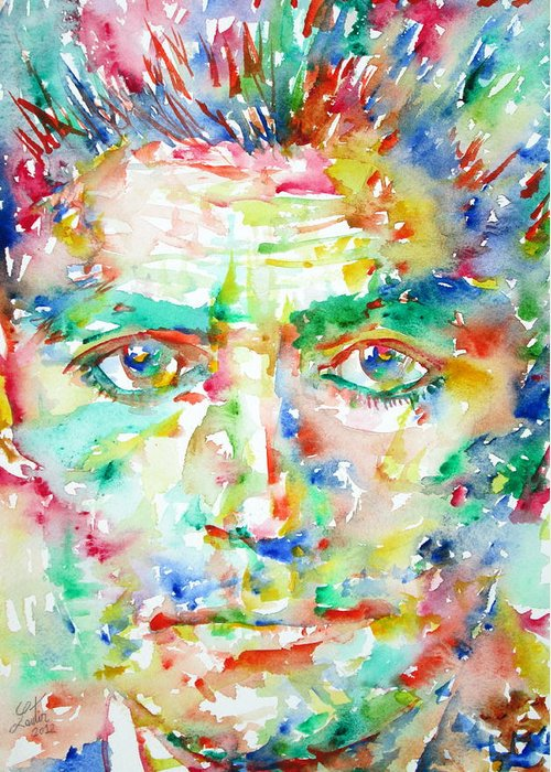 Kafka Greeting Card featuring the painting Franz Kafka Watercolor Portrait by Fabrizio Cassetta