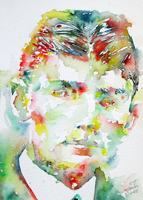 Franz Greeting Card featuring the painting Franz Kafka Watercolor Portrait.2 by Fabrizio Cassetta
