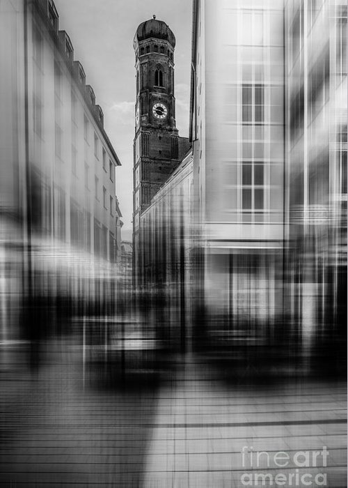 People Greeting Card featuring the photograph Frauenkirche - Muenchen V - Bw by Hannes Cmarits