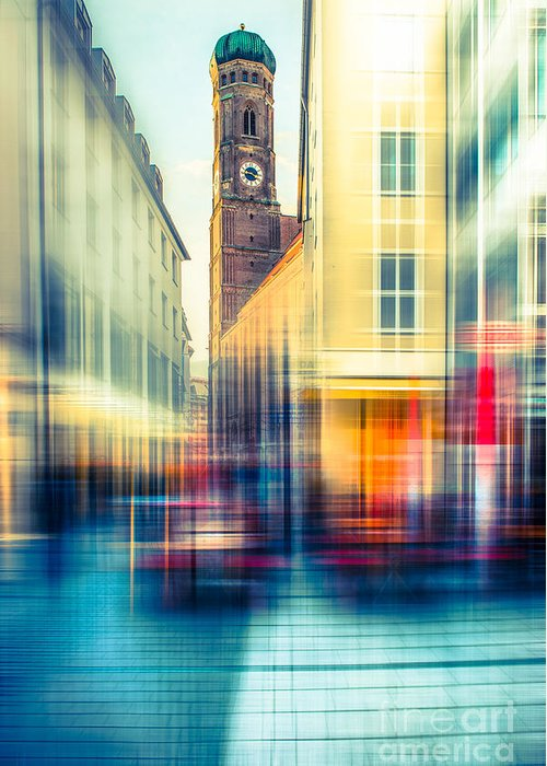 People Greeting Card featuring the photograph Frauenkirche - Munich V - Vintage by Hannes Cmarits
