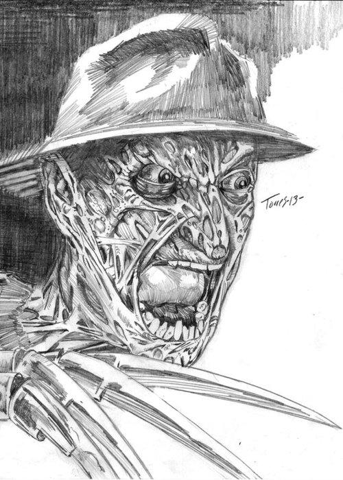 Horror Greeting Card featuring the drawing Freddy by Christopher Torres