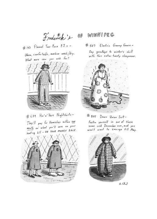 Frederick's Of Winnipeg: Title. 4-panel Drawing Shows Such Items As Flannel Pajamas Greeting Card featuring the drawing Frederick's Of Winnipeg by Roz Chast