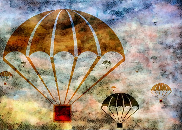 Free Greeting Card featuring the mixed media Free Falling by Angelina Vick