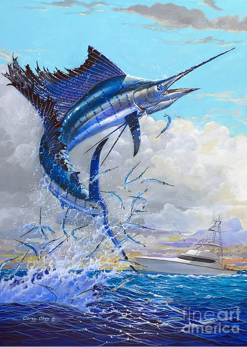 Sailfish Greeting Card featuring the painting Free Jumper Off00152 by Carey Chen