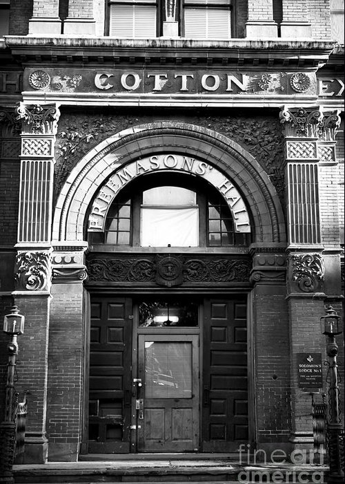 Savannah Cotton Exchange Greeting Card featuring the photograph Free Mason's Hall by John Rizzuto