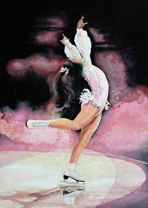 Skating Greeting Card featuring the painting Free Spirit by Hanne Lore Koehler