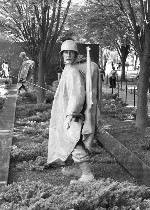 The Korean War Veterans Memorial Greeting Card featuring the photograph Freedom Is Not Free by Sandy Fraser