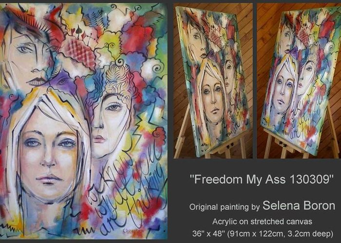 Freedom Greeting Card featuring the painting Freedom My Ass 130309 by Selena Boron
