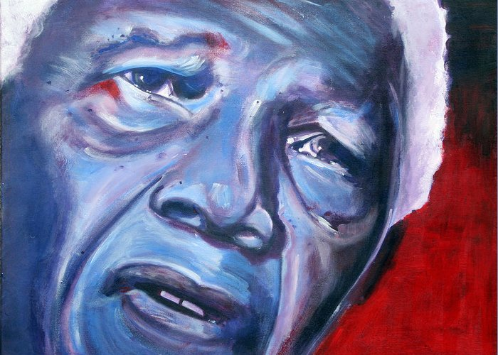 Nelso Mandela Greeting Card featuring the painting Freedom - Nelson Mandela by Fiona Jack