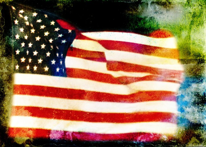Distressed Flags Greeting Card featuring the photograph Freedom by Steven Michael