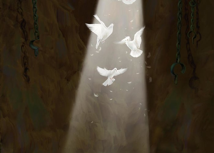 Prophetic Art Greeting Card featuring the painting Freedom by Tamer and Cindy Elsharouni