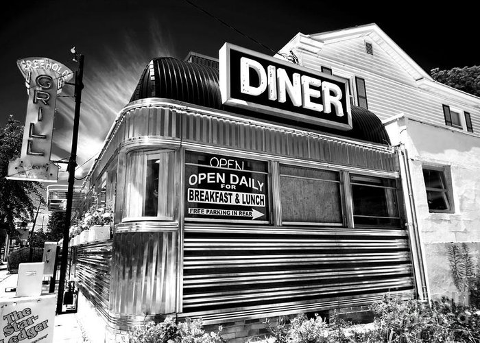 Freehold Diner Greeting Card featuring the photograph Freehold Diner by John Rizzuto