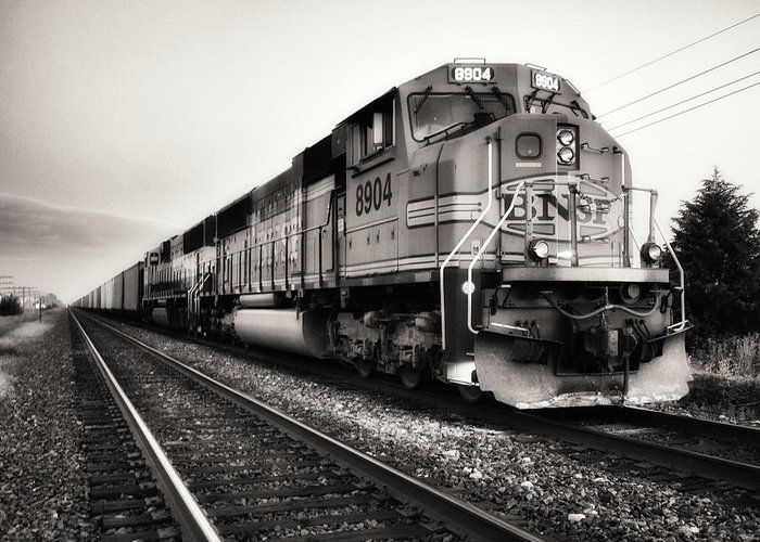 Freight Train Greeting Card featuring the photograph Freight Train by Tom Druin