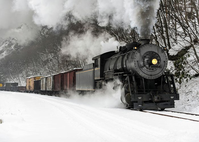 Scenics Greeting Card featuring the photograph Freight Train With Steam Locomotive by Catnap72
