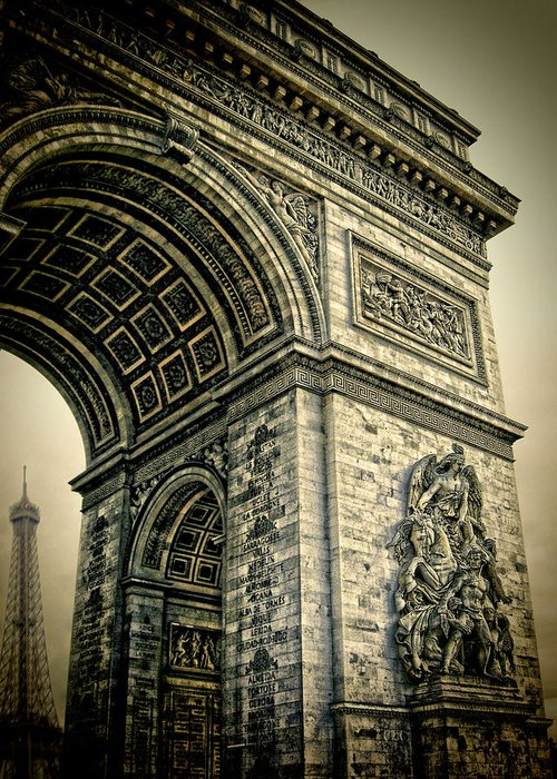 The Eiffel Tower Greeting Card featuring the photograph French - Arc De Triomphe And Eiffel Tower by Lee Dos Santos