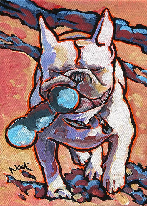 French Bulldog Greeting Card featuring the painting French Bulldog And Toy by Nadi Spencer