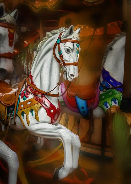 Horse Greeting Card featuring the photograph French Carousel by Jim Painter