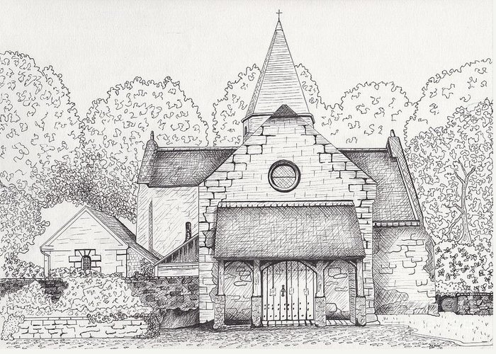 Architectural Art Greeting Card featuring the drawing French Church by Michelle Welles