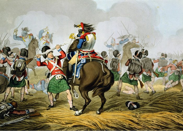 Soldiers Greeting Card featuring the drawing French Cuirassiers At The Battle by John Augustus Atkinson