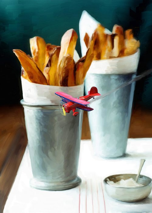 French Fries Greeting Card featuring the painting French Fries Fly-by by Snake Jagger