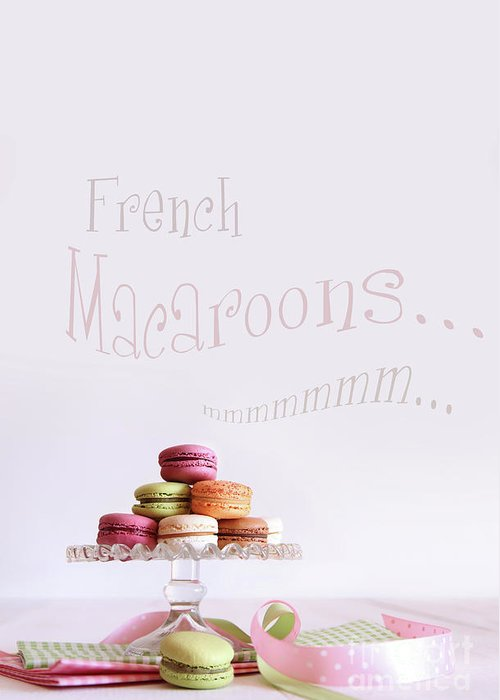Afternoon Greeting Card featuring the photograph French Macaroons On Dessert Tray by Sandra Cunningham