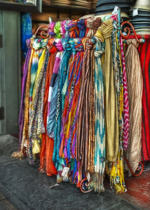 French Market Greeting Card featuring the photograph French Market Scarves by Brenda Bryant