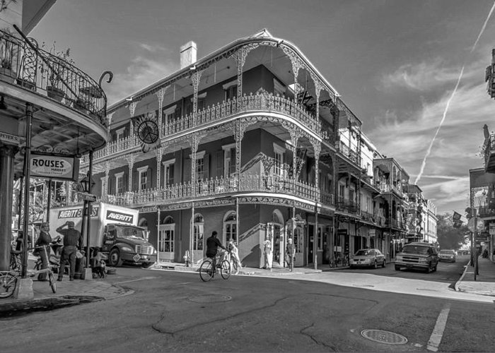 French Quarter Greeting Card featuring the photograph French Quarter Afternoon Bw by Steve Harrington