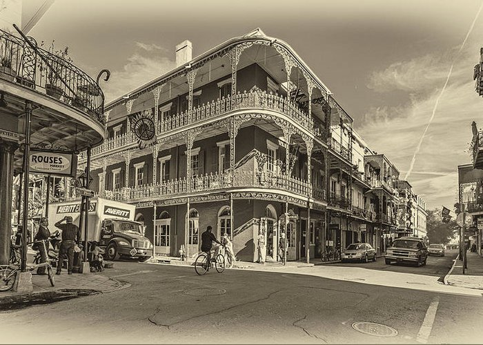 French Quarter Greeting Card featuring the photograph French Quarter Afternoon Sepia by Steve Harrington