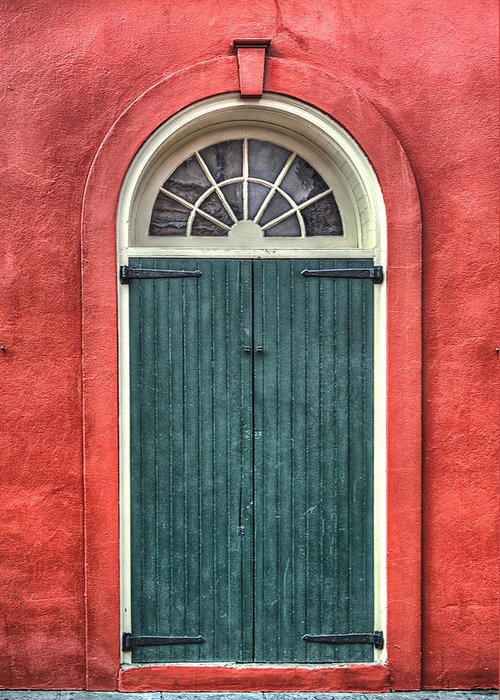 French Quarter Greeting Card featuring the photograph French Quarter Arched Door by Brenda Bryant