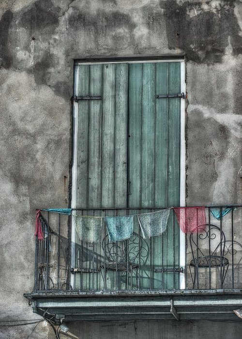 Door Greeting Card featuring the photograph French Quarter Balcony by Brenda Bryant