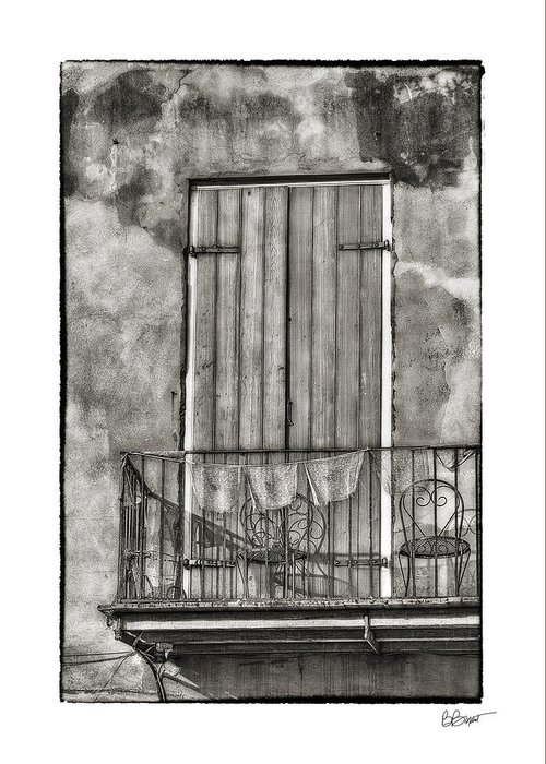 Door Greeting Card featuring the photograph French Quarter Balcony In Black And White by Brenda Bryant