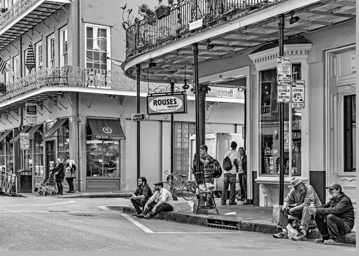 French Quarter Greeting Card featuring the photograph French Quarter - Hangin' Out Bw by Steve Harrington