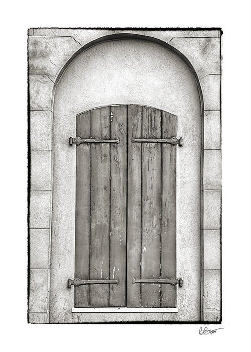 French Quarter Greeting Card featuring the photograph French Quarter Shutters In Black And White by Brenda Bryant