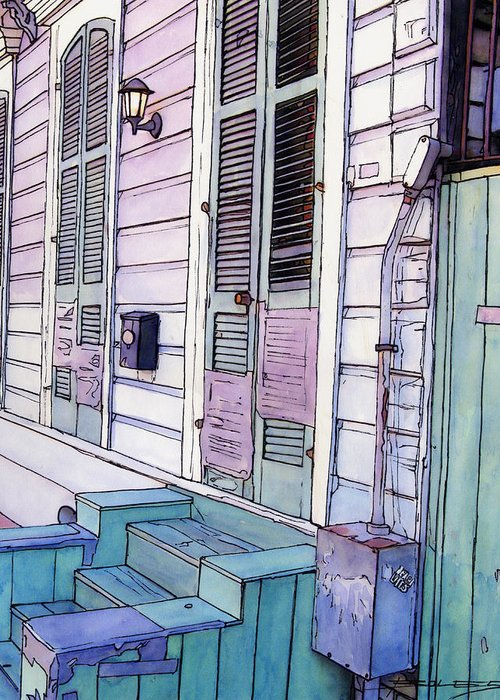 New Orleans Greeting Card featuring the painting French Quarter Stoop 213 by John Boles