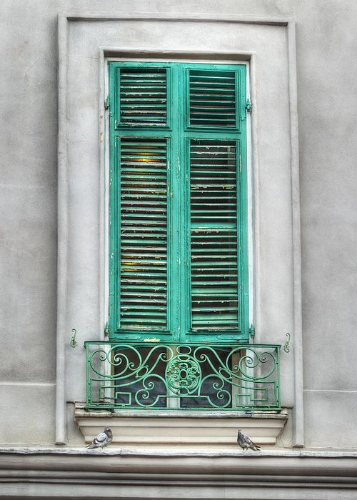 French Quarter Greeting Card featuring the photograph French Quarter Window In Green by Brenda Bryant