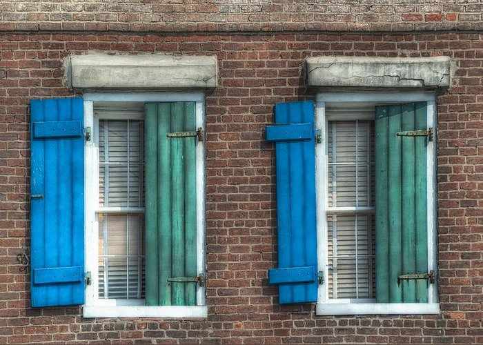 French Quarter Greeting Card featuring the photograph French Quarter Windows by Brenda Bryant