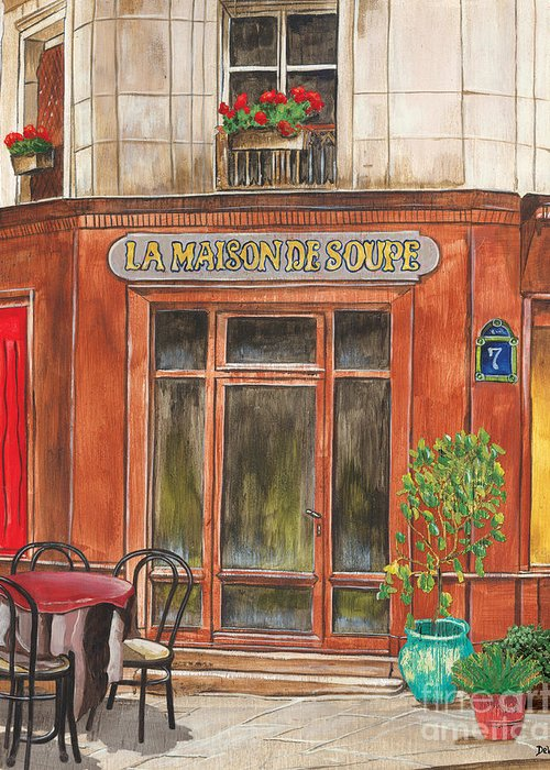 Restaurant Greeting Card featuring the painting French Storefront 1 by Debbie DeWitt