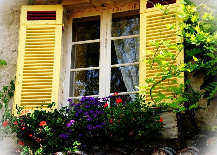 Window Greeting Card featuring the photograph French Window Dressing by Jacqueline M Lewis