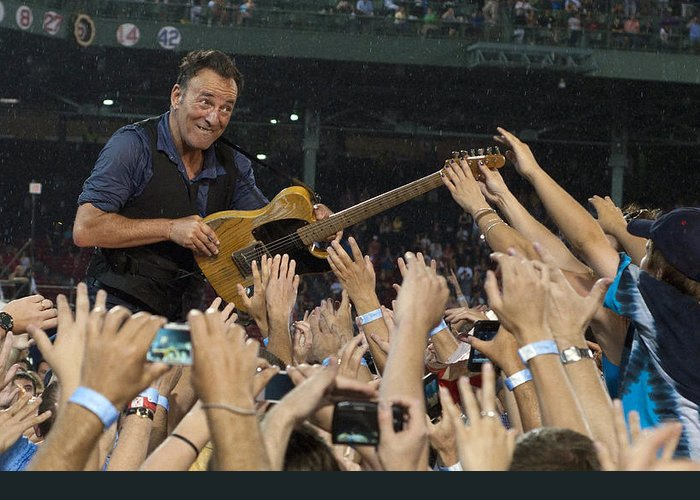 Bruce Springsteen Greeting Card featuring the photograph Frenzy At Fenway by Jeff Ross