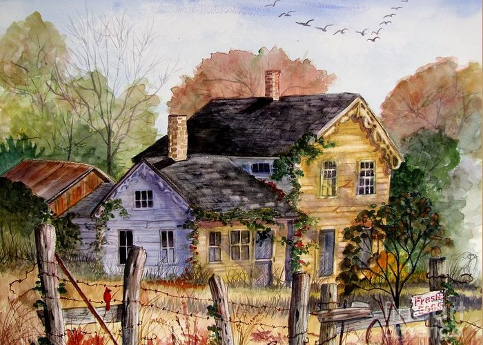 Farmhouse Greeting Card featuring the painting Fresh Eggs For Sale by Marilyn Smith