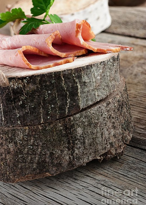 Appetizer Greeting Card featuring the photograph Fresh Ham by Mythja Photography
