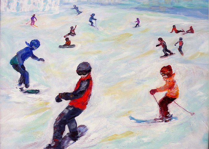Kids Skiing Greeting Card featuring the painting Fresh Mountain Air and Friends by Naomi Gerrard