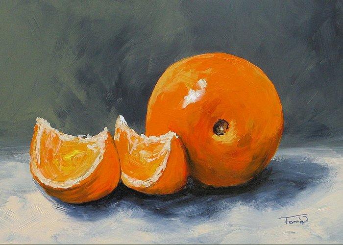 Orange Greeting Card featuring the painting Fresh Orange IIi by Torrie Smiley