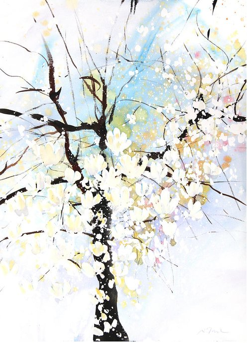 Woods Greeting Card featuring the painting Fresh Pick No.394 by Sumiyo Toribe