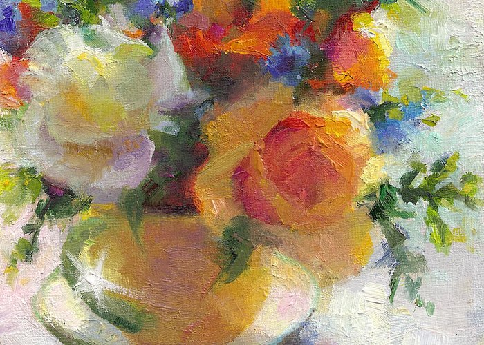 Roses Greeting Card featuring the painting Fresh - Roses In Teacup by Talya Johnson