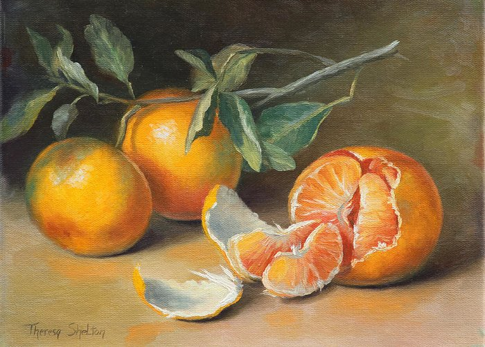 Tangerines Greeting Card featuring the painting Fresh Tangerine Slices by Theresa Shelton