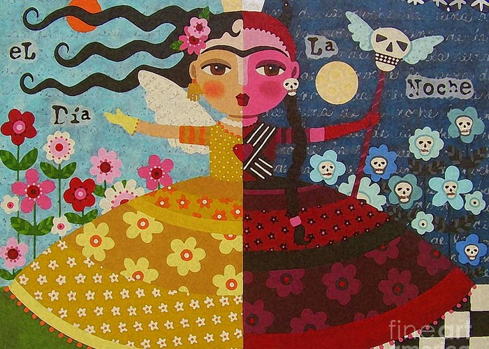 Frida Greeting Card featuring the painting Frida Kahlo Angel Devil Queen by LuLu Mypinkturtle